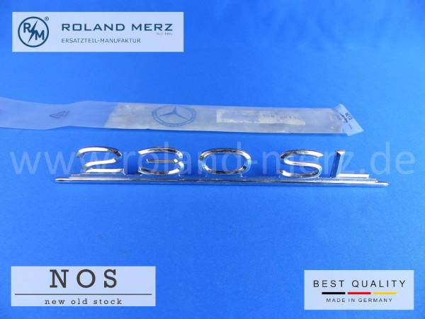 113 817 01 15 Typenkennzeichen Mercedes 230 SL auf Heckdeckel schwere Messing-Ausführung Original Neuteil/NOS