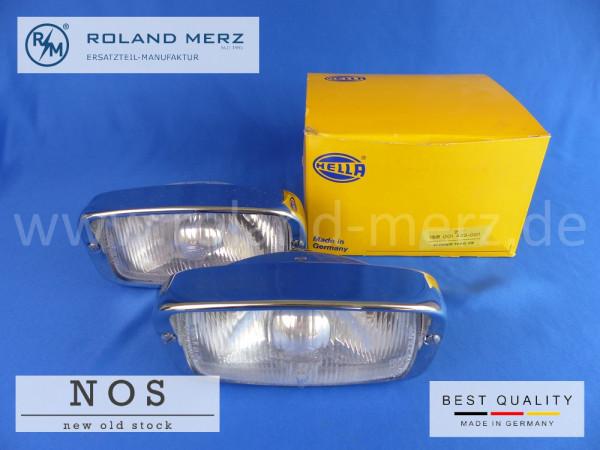 Hella Zusatzscheinwerfer 1 SB 001 425 -001 für Porsche 906 und BMW 3200 CS Bertone vollverchromt 170 mm Breite X 90mm Höhe Neuteil / NOS