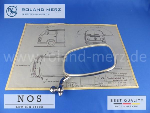 Außenspiegel rechts verchromt für VW Bus T2 NOS (Originalteil, keine Repro) Vergl.-Nr. 211857513