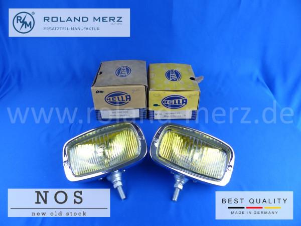 Nebelscheinwerfer Hella 145 ZNX-1 CC mit gelben Glas und Chromblende für Mercedes 190SL und Porsche