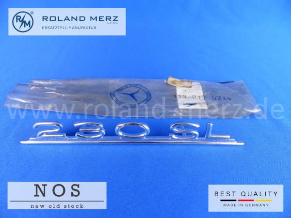 113 817 02 14 Typenkennzeichen 230SL an Deckel Armaturenbrett, original Neuteil / NOS