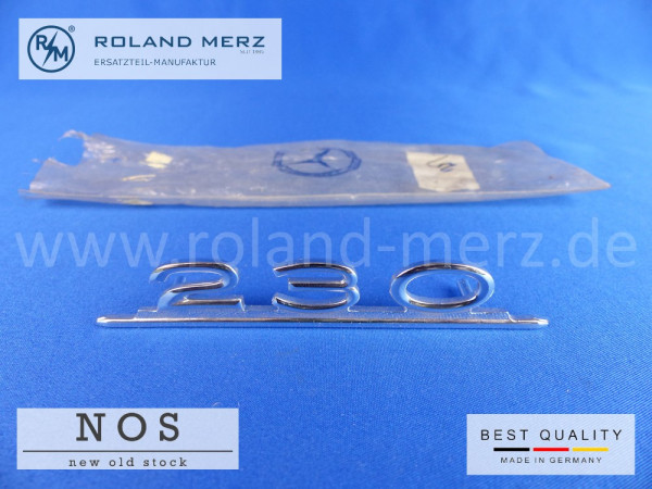 110 817 02 14 Typenkennzeichen innen an Armaturenbrett Mercedes 230, original Neuteil/NOS