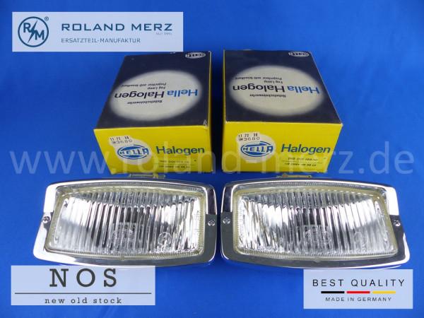 1 Paar neue Hella Nebelscheinwerfer 139 ZNWH 180 CC hängende Ausführung, vollverchromt für Mercedes, Porsche, BMW
