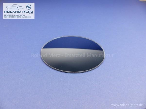 Spiegelglas rund konvex blaugetönt mit Randversieglung und Splitterschutzfolie