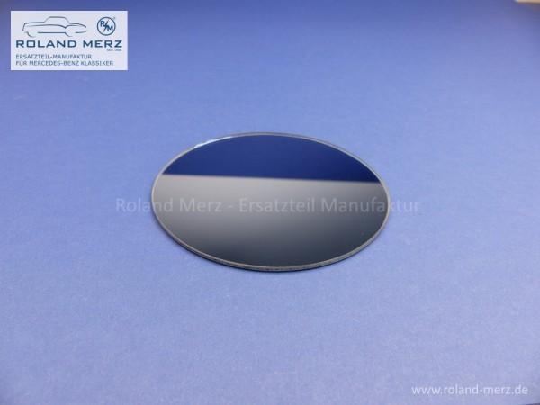 Spiegelglas rund plan blaugetönt mit Randversieglung und Splitterschutzfolie
